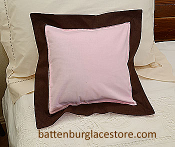 "Pillow Sham. PINK LADY with BROWN color border. 12"" SQ."